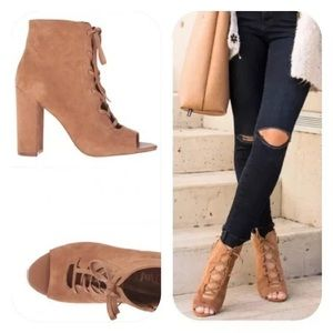 Sam Edelman lace up open toe suede ankle booties